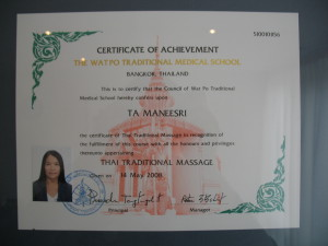 Diploma Traditionele Thaise Massage